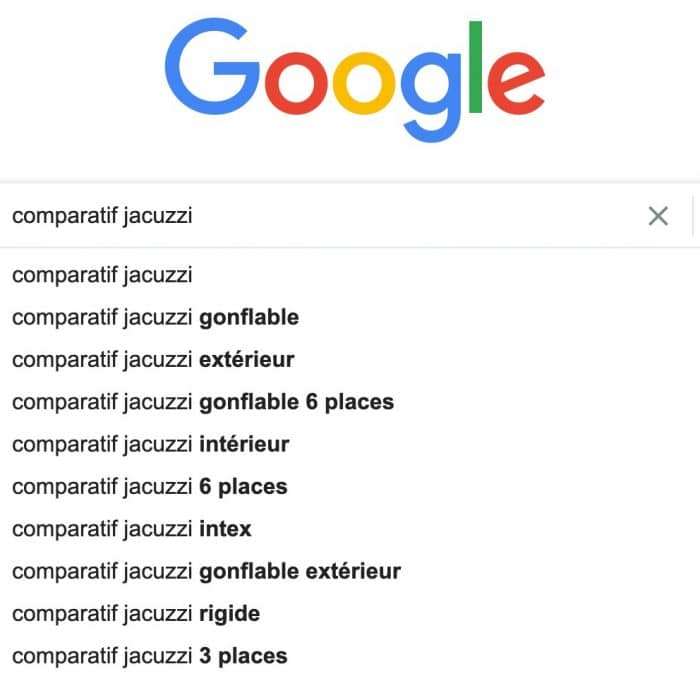 SERP google mot cle jacuzzi